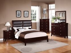 Beautiful Boxed Style 4pc Set Cherry Wood Finish Queen Bed Dresser Mirror Ns