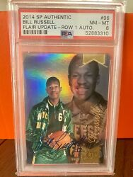 2014 Sp Authentic Bill Russell - Flair Update Row 1 Auto Psa 8 One Of One