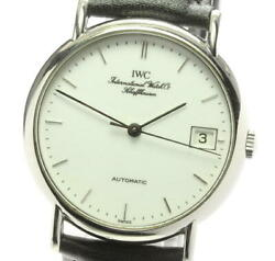 Portofino Iw3513 Automatic Stainless Leather White Dial Menand039s Watch [u0603]