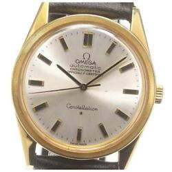 Omega Constellation K18yg Cal.712 Automatic Menand039s Silver Dial Leather [e0603]