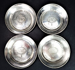 4 Silver Plate Metal Hecworth Coasters Iprs Int. Congress Melbourne Vtg 71