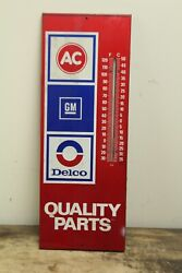 Vintage Gm Chevrolet Ac Delco Quality Car Parts 23 Metal Thermometer Sign