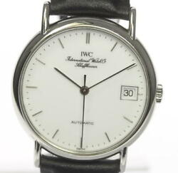 Portofino Date Automatic Ss Leather White Dial Menand039s Watch Pre Owned [u0603]