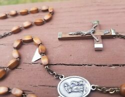 Antique Wooden Rosary Beads, Crucifix Marked Italy