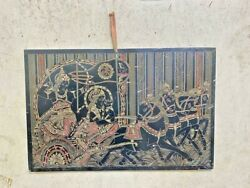 Old Vintage Rare Iron Tin Hand Carving And Painted Hindu God Bored