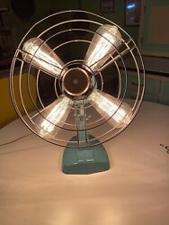 Custom Made Industrial Lamp From Vintage Table Fan Converted Steampunk Retro Mcm