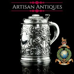Antique Solid Silver Large Tankard With Royal Marines Officer Interest - 1900