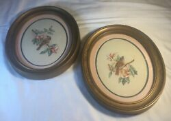 2 Vtg Homco Home Interior Oval Pictures W/birds Sitting On Limbs/flowers Pretty