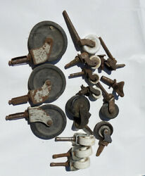 13 Vintage Antique Porcelain And Plastic Casters Wheels For Furniture Chairs