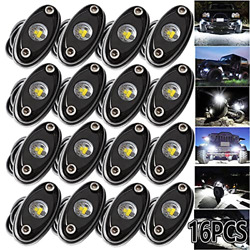 Ledmircy Led Rock Lights White 16pcs Kit For Off Road Truck Rzr Auto Car Boat