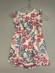 Tea Collection Toddler Girls Dress Size 3t Pink/ Purple Floral Euc Free Shipping
