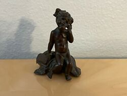 Vintage Mia Krantz Signed Small Bronze Sculpture Of Young Girl On Phone 28/50