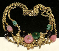 Rare Vintage Early Miriam Haskell Gilt Purple Pink Green Art Glass Necklace A6