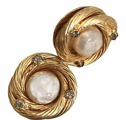 1980 Clips Earrings ,vintage Gold Plated And Pearls Earrings