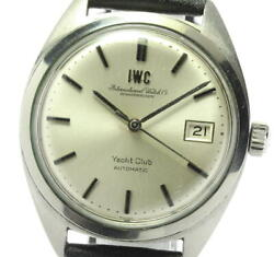 Yacht Club Date Antique Automatic Ss Leather Silver Dial Menand039s Watch [u0604]