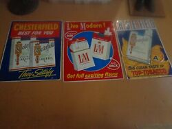 Vintage Chesterfield And Landm Cigarette Embossed Metal Tin Signs - 29'' By 23''