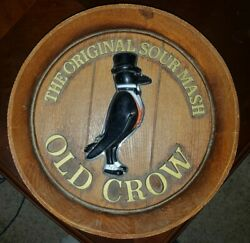 1960s Vtg Old Crow Bourbon American Whiskey Sign- Barrel Wall Ad Display Tuxedo