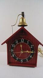 Vintage Mid Century Plastic Red School House Clock W/ Bell Ingraham Parts Only