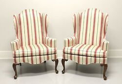 Ethan Allen Queen Anne Style Wing Back Chairs - Pair