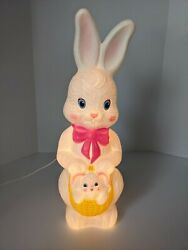 Vintage, 1995, Empire, Blow Mold, Easter Bunny Rabbit With Basket, Light Up, 21