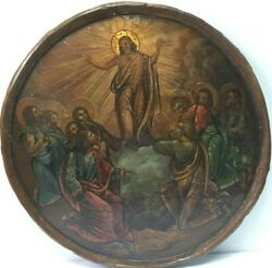 Antique 19c Russian Icon Of The Transfiguration Of Christ