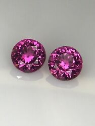 5.3mm Round Hot Pink Pair Tourmaline Brilliant Cut Good Quality For Earrings