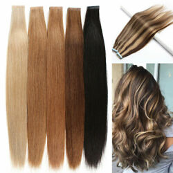 10-24 Tape In Skin Weft Glue On Remy Human Hair Extensions Blonde Brown Black