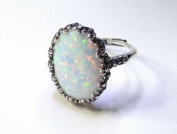 White Opal Ring Solid Sterling Silver - Lab Created Fire Opal Ring Adjustable