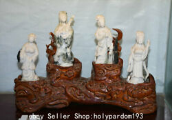 18.8 Chinese Natural White Dushan Jade Carving Four Great Beauties Statue Set