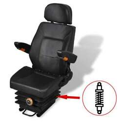Forklift And Tractor Seat With Suspension And Adjustable Backrest Seating Black