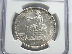 1877-s Trade 1 Ngc Ms 60 Old Brown Holder Choice And Lustrous For Grade