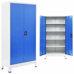 Office Cabinet Metal Gray Box Storage Case Filing Cabinet Gray And Blue