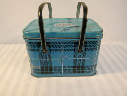 50s Nesco Coolryte Metal Cooler And Tray Blue Plaid Retro Country Kitchen Display