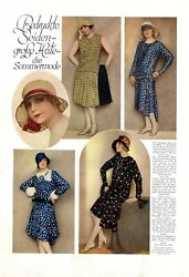 Printed Silk Dress Summer Hat 1 Page Photo Images 1929 20s Fashion Steels -