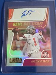 Justin Fields 2021 Panini Contenders Game Day Ticket Signature Bowl Champ 10/10