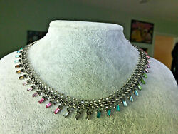 Dannijo Flores Multi Color Choker Crystal Statement Necklace New