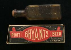 Bryant's Root Beer Concentrate Rare Full Bottle And Original Michigan Drug Co. Box