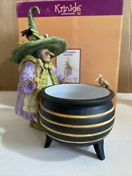Dept 56 Krinkles Patience Brewster Witch And Cauldron Candy Dish Halloween Rare