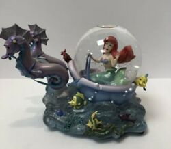 Disney The Little Mermaid Ariel With Seahorses Musical Snowglobe Works No Flaws