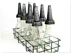 1930s The Master Co. Oil Rack, 8 Glass Oil Bottles And Spouts, Petroliana
