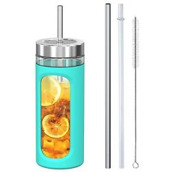 Glass Tumbler with Straw and Lid 20oz Glass Smoothie Cup with Silicone Protec... $20.59