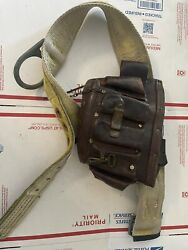 Vintage Leather Lineman Electrician Brown Tool Pouch Bag With Belt