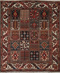 Antique Geometric Traditional Oriental Vegetable Dye Hand-knotted Area Rug 5x6