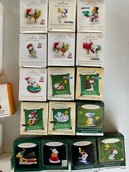 Hallmark Lot Of 25 Peanuts Winter Fun With Snoopy And More Ornament Miniatures
