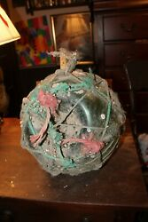 Antique Large Glass Fishing Float 12 With Ropes Dirt Barnacles And Ocean Growth