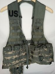 Us Army Acu Molle Fighting Load Carrie Bearing Vest W/ Mag, Canteen Pouch