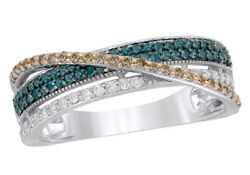 1/2 Ct Blue, Champagne And White Natural Diamond Criss-cross Ring 10k White Gold