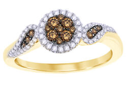 3/8 Ct Champagne And White Diamond Frame Cluster Ring 10k Yellow Gold