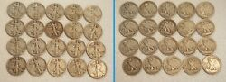 Lot H 20 Walking Liberty Halves 90 Silver Coins Hr 1930's And 1940's 10 Face