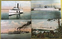 Vintage Ships Great Lakes And Maine Tashmoo Camden Morse Steamers Postcards Lot